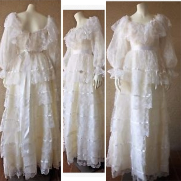 Vintage Dresses   Southern Belle Wedding Gown Lace Quinceanera Dress ...